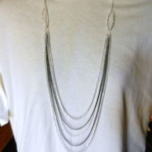 Multiple Layered Drop  Black & Silver Necklace